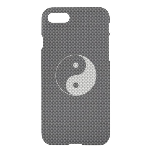Yin and Yang Symbol in Black & White Carbon Fiber iPhone 7 Case
