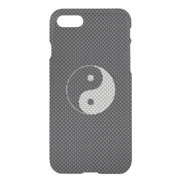 McTiffany Tiffany Aqua Yin and Yang Symbol in Black & White Carbon Fiber iPhone 8/7 Case