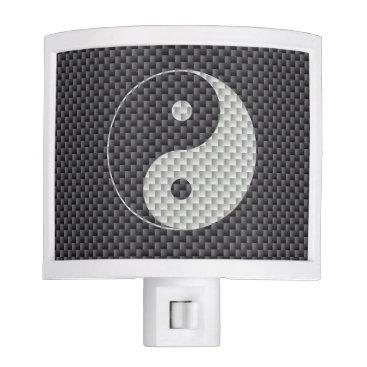 Beach Themed Yin and Yang Symbol in Black & White Carbon Fiber Night Light
