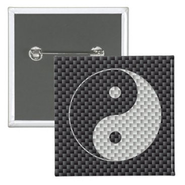 Beach Themed Yin and Yang Symbol in Black & White Carbon Fiber Pinback Button