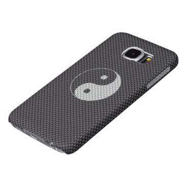 Beach Themed Yin and Yang Symbol in Black & White Carbon Fiber Samsung Galaxy S6 Case
