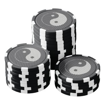 Beach Themed Yin and Yang Symbol in Black & White Carbon Fiber Set Of Poker Chips