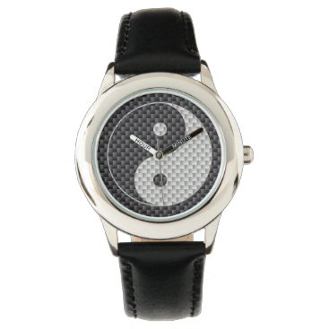 Beach Themed Yin and Yang Symbol in Black & White Carbon Fiber Wrist Watch