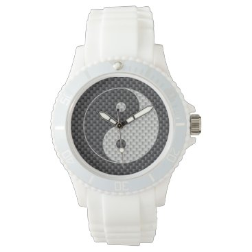 Beach Themed Yin and Yang Symbol in Black & White Carbon Fiber Wristwatch