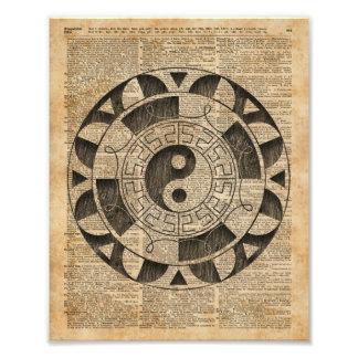 Yin And Yang Symbol Taijitu Mandala Vintage Dictio Photo Print