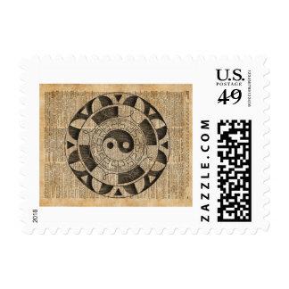 Yin And Yang Symbol Taijitu Mandala Vintage Dictio Postage Stamp