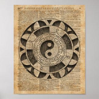 Yin And Yang Symbol Taijitu Mandala Vintage Dictio Poster