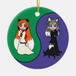 Yin and Yang The Fox Girls (Kitsune) Double-Sided Ceramic Round Christmas Ornament