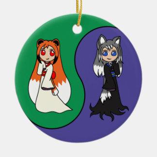 Yin and Yang The Fox Girls Kitsune Christmas Ornaments
