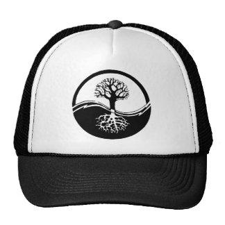 Yin and yang tree of life mesh hat