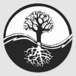 Yin and yang tree of life round stickers