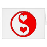 Yin and Yang Valentine Hearts Greeting Cards