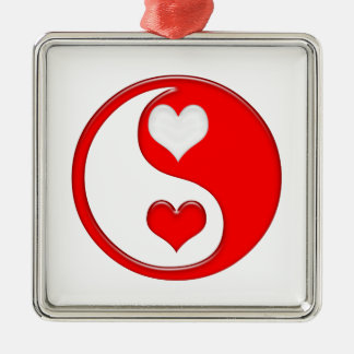 Yin and Yang Valentine Hearts Metal Ornament