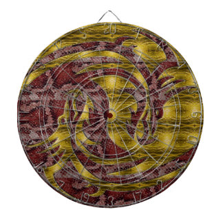 Yin and Yang yellow and red dragon Dartboard