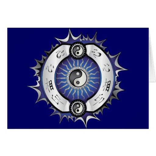 Yin azul eléctrico Yang Tarjeta De Felicitación