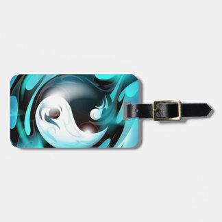 Yin azul fresco Yang Etiqueta De Equipaje