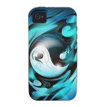 Yin azul fresco Yang iPhone 4 Carcasa