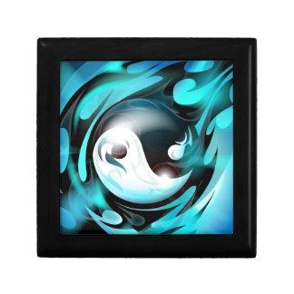 Yin azul fresco Yang Joyero Cuadrado Pequeño