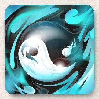 Yin azul fresco Yang Posavasos De Bebidas