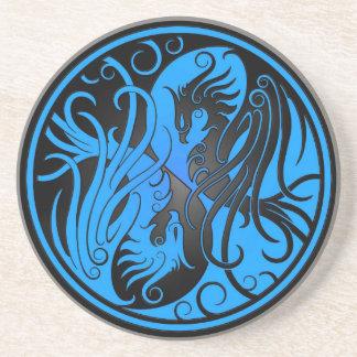 Yin azul y negro Yang Phoenix Posavasos Cerveza