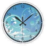 Yin azul y verde y Yang Reloj Redondo Grande