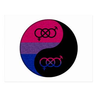Yin bisexual y Yang Tarjeta Postal