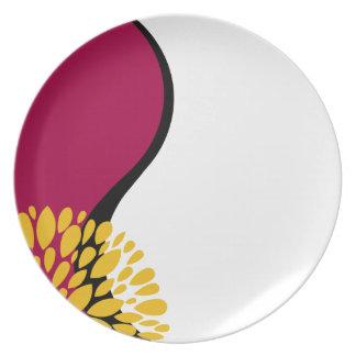 Yin blanco negro rojo moderno fresco Yang Plato De Cena
