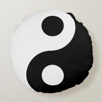 Yin blanco y negro Yang Cojín Redondo