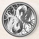 Yin blanco y negro Yang Phoenix Posavasos Manualidades