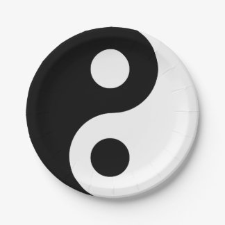 Yin blanco y negro Yang Platos De Papel