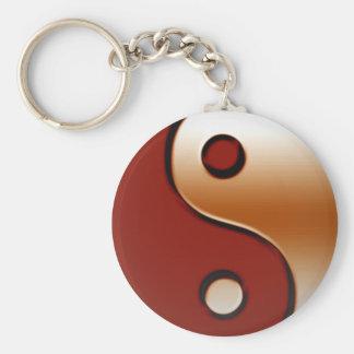 Yin bronceado Yang Llavero Redondo Tipo Pin