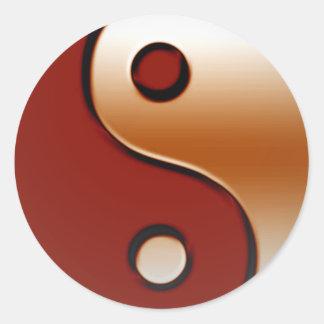 Yin bronceado Yang Etiqueta Redonda