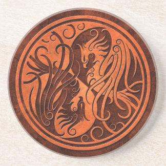 Yin de piedra rojo Yang Phoenix Posavasos Personalizados