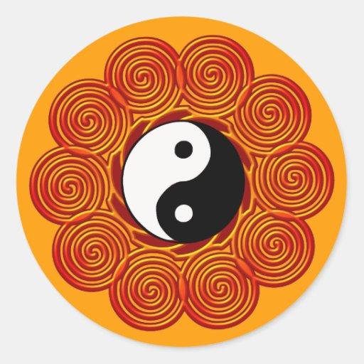 Yin espiral Yang Sun Etiqueta Redonda