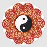 Yin espiral Yang Sun Pegatina Redonda