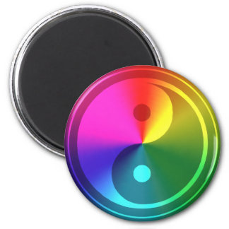 Yin espiritual Yang - diseño del arco iris Imán Redondo 5 Cm