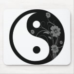 Yin floral negro Yang Alfombrillas De Raton