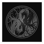 Yin gris y negro Yang Phoenix Invitación