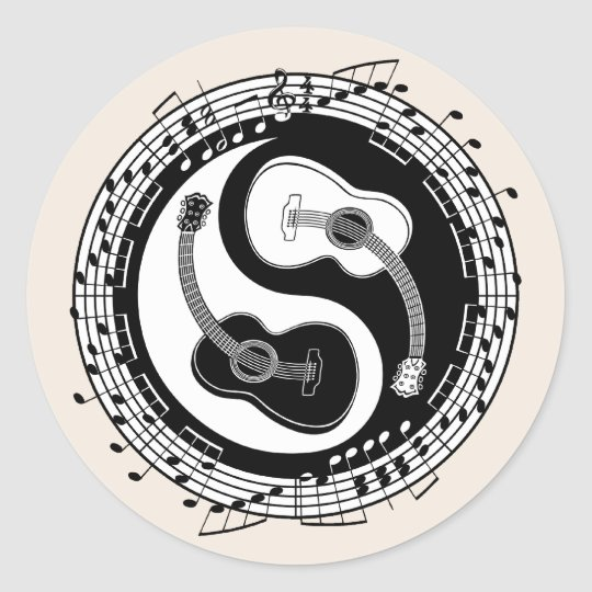 Yin Guit Notation Classic Round Sticker
