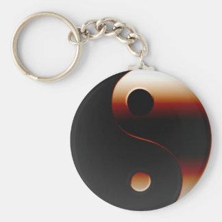 Yin metálico Yang Llavero Redondo Tipo Pin