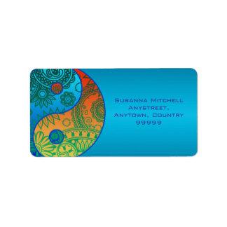 Yin modelado Yang anaranjado y azul Etiquetas De Dirección