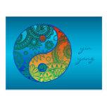 Yin modelado Yang anaranjado y azul Postal