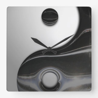 Yin negro líquido Yang (personalizable) Reloj Cuadrado