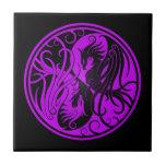 Yin púrpura y negro Yang Phoenix Azulejo