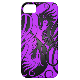 Yin púrpura y negro Yang Phoenix iPhone 5 Case-Mate Protectores