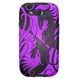 Yin púrpura y negro Yang Phoenix Galaxy S3 Cobertura