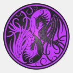 Yin púrpura y negro Yang Phoenix Pegatina Redonda