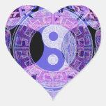 Yin púrpura Yang Pegatina De Corazón Personalizadas