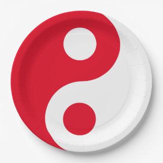 Yin rojo y blanco Yang Platos De Papel