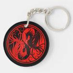 Yin rojo y negro Yang Phoenix Llaveros